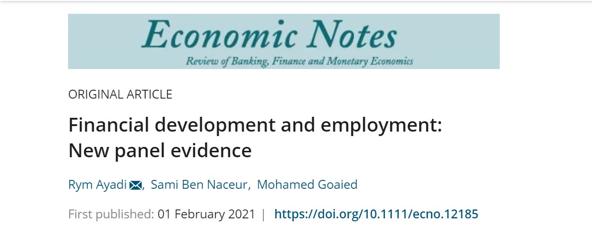 "EMNES paper ""Financial development and employment: New panel evidence"" published by the Economic Notes"