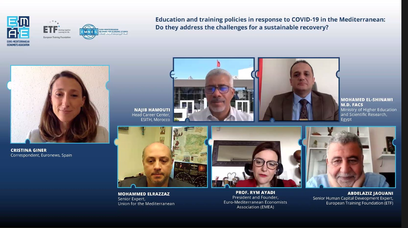 "EMEA Webinar ""Education and training policies in response to COVID-19 in the Mediterranean: Do they address the challenges for a sustainable recovery?"" completed successfully"