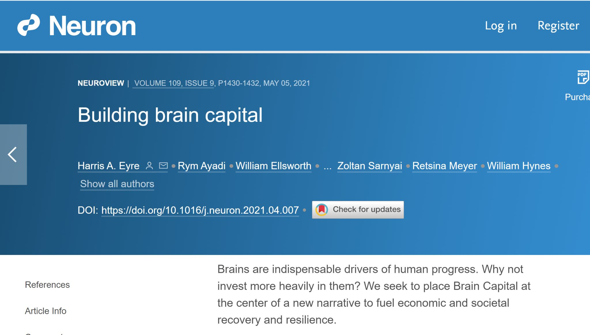 Brain Capital article published by Neuron