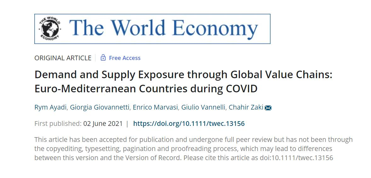 """EMEA Paper on the """"Demand and Supply Exposure Through Global Value Chains"""" accepted for publication by The World Economy"""