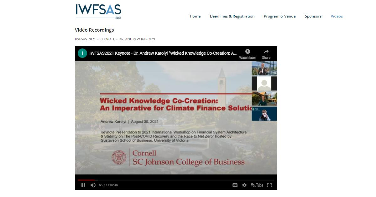 IWFSAS 2021 report and videos published